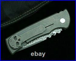Straightback Folding Knife Pocket Hunting Combat Damascus Steel Titanium Handle