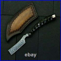 Straightback Folding Knife Pocket Hunting Survival Damascus Steel Wood Handle 2