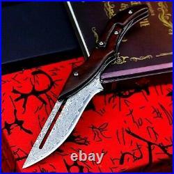 Straightback Folding Knife Pocket Hunting Survival Damascus Steel Wood Handle 4