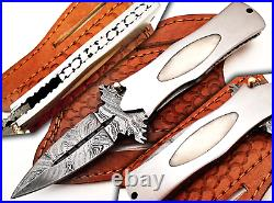 Stunning Custom Handcrafted Damascus Steel Folding Knife Camel Bone Handle