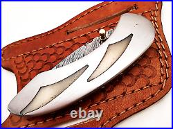 Stunning Handcrafted Custom Damascus Steel Folding Knife Camel Bone & Steel