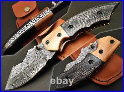 Stunning Made Custom Handmade Damascus Pocket Folding Knife Olive wood Handle