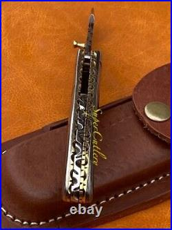 Stunning Solid Full Damascus Steel Engraved Folding Knife With Brass File Work