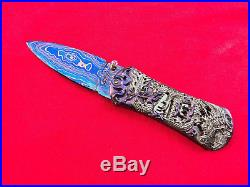 Suchat Custom Folding Knife Damascus Steel Engraving Black Pearl Dragon Art k01
