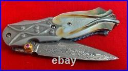 Suchat Custom Knives Damascus Steel Folding Knife