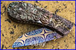 Suchat Jangtanon Folding Knife Mosaic Damascus Carved Flower Black Pearl Garnet