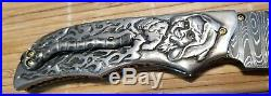 Suchat Jangtanong Custom Folding Knife Damascus Blade Carved Scales S/S & Ti