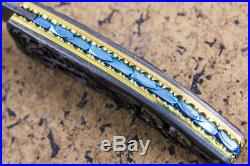 Suchat Jangtanong Custom Folding Knife Damascus Carve as Spider Abalone Inlay FS