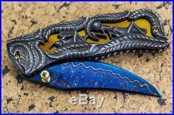 Suchat Jangtanong Custom Folding Knife Damascus Steel Carved as Grasshopper Gem