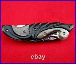 Suchat Jangtanong Custom Folding Knife Damascus Steel Swan Buffalo horn Pearl