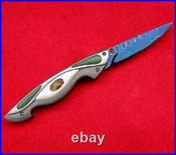 Suchat Jangtanong Custom Folding Knife Damascus Steel white Pearl Fossils jade