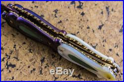 Suchat Jangtanong Custom Folding Knife Damascus Titanium Anodized Jade inset