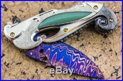 Suchat Jangtanong Custom Folding Knife Damascus Titanium Jade inset Black Pearl