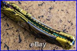 Suchat Jangtanong Custom Folding Knife Mosaic Damascus Black Pearl Flower Carved