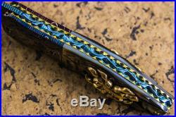 Suchat Jangtanong Custom Folding Knife Mosaic Damascus Carved Spider inset Gem