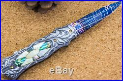 Suchat Jangtanong Custom Folding Knife Mosaic Damascus Fully Carved Handle Topaz