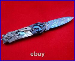 Suchat Jangtanong Custom Folding Knife Mosaic Damascus Steel Abalone carve Pearl