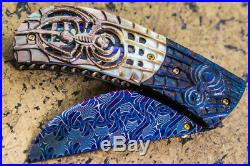 Suchat Jangtanong Custom Folding Knife Mosaic Damascus Steel Carved as Spider