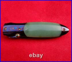 Suchat Jangtanong Custom Folding Knife Mosaic Damascus Steel genuine jade green