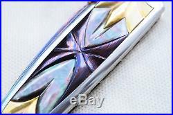 Suchat Jangtanong Folding Knife Color Damascus Inlay Handle 24K Gold Screw