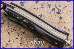 Suchat Jangtanong Mini Size Folding Knife Color Damascus Abalone Black Pearl