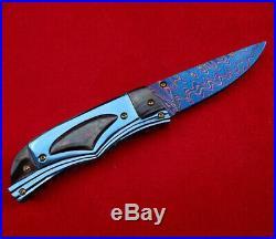 Suchat Knives Custom Folding Knife Damascus Steel Black Pearl Titanium Craft Art