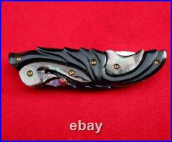 Suchat Knives Custom Folding Knife Damascus Steel Swan Black Pearl Buffalo horn