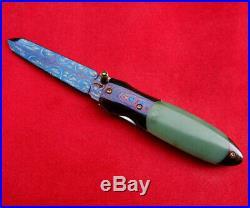 Suchat Knives Custom Folding Knife Mosaic Damascus Steel jade green genuine gem