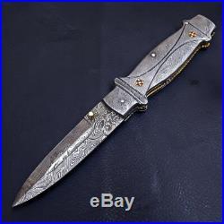 Superb Handmade Full Damascus Steel Folding/pocket Hunting Knife Liner Lock