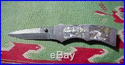 T. R. Overeynder Knives TRO Custom SILVER Abalone FOLDING KNIFE Damascus BLADE