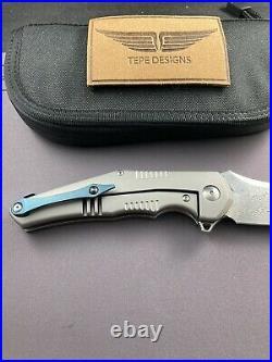 Tepe Designs Kilij Titanium Damascus Folding Knife BNIB