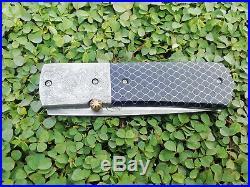 Thailand Crafts Custom Folding Knife Handmade Damascus Steel black C-tek handle