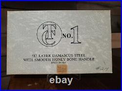 Thompson Center #1 Damascus Folding Knife Honey Bone Grips Nib Unused Limited Ed