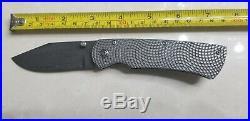 Three Sisters Forge Ti Handle Beast Damascus Steel Folding Knife. Estate Sale