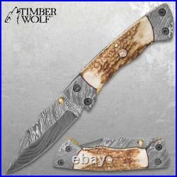 Timberwolf Real DAMASCUS Folding Pocket Knife CUSTOM HANDMADE with Leather Sheath