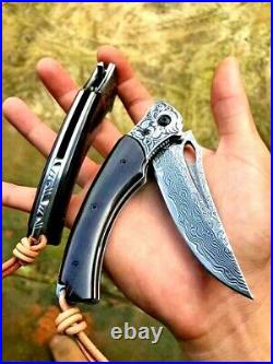 Trailing Point Folding Knife Pocket Flipper Hunting Wild Tactical Damascus Steel