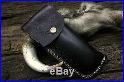 USA-PB-266-B Damascus Steel Custom Handmade 13 RARE Thumb Lock Folding Knife