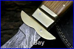 USA-PB-267-B Damascus Steel Custom Handmade 13 RARE Thumb Lock Folding Knife
