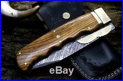 USA-PB-270-B Damascus Steel Custom Handmade 13 RARE Thumb Lock Folding Knife