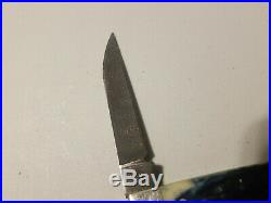 USED Case Mediterranean Blue Damascus Wharncliffe Mini Trapper 3.5 Closed6107W