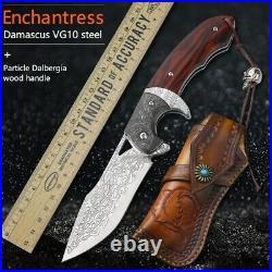 VG10 DAMASCUS Steel Knife PREMIUM QUALITY HANDMADE EDC Hunting Folding Knives