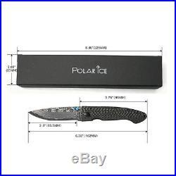 VG10 Damascus Blade Folding Knife 3.75 Carbon Fiber Handle 2.75 Blade