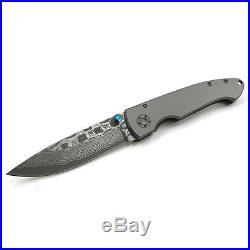 VG10 Damascus Blade Folding Knife, 3.75'' Titanium Handle, 2.75 Blade, E, 6102-12D