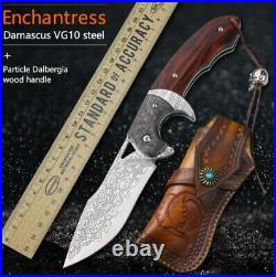 VG10 Damascus Steel Folding Knife Rosewood Pocket Collectors Knife Tactical Tool