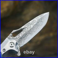 VG10 Damascus Steel Knife Tactical EDC Folding Pocket Knives Hunting Camp Tools