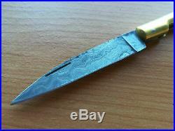 Vendetta Corsa Damascus Steel Vintage Folding Pocket Knife Bovine Bone Handle
