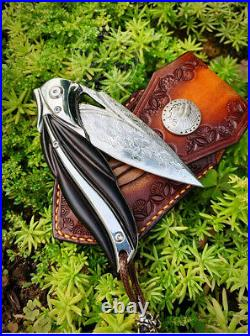 Vg10 Damascus Folding Knife Pocket Assist Ball Bearing Flipper Ebony Wood Sheath
