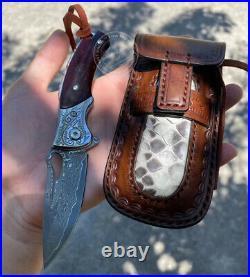 Vg10 Damascus Folding Knife Pocket Flipper Knife With Leather Sheath Rescue Edc