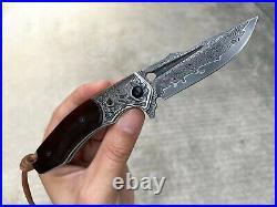 Vg10 Damascus Hunting Knife Folding Knife Camping Rescue Tool Ball Bearing Black