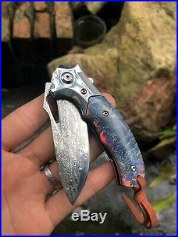 Vg10 Damascus Steel Folding Knife Pocketknife Ball Bearing Stabilized Wood Edc